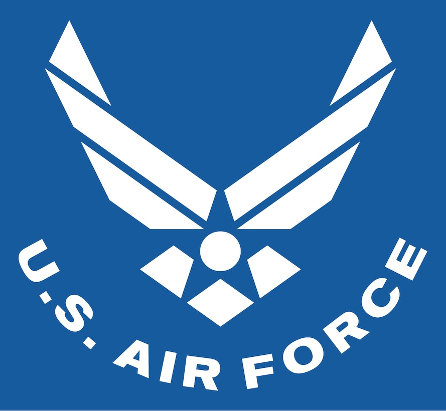 "Air Force symbol, curved text, white with blue background. The Air Force Symbol is a registered trademark (No. 2,767,190) of the USAF. Permission to use it for commercial use and advertising (free or paid) is required. The use of this trademark for commercial purposes, including reproduction on merchandise, is expressly prohibited unless the producer has a fully executed license agreement with the Air Force. Use is governed by the terms of the agreement. <a href=""http://www.trademark.af.mil/shared/media/document/AFD-100728-052.pdf"">Click here</a> to download the licensing application.  For more information contact the Air Force Trademark Licensing office at 210.395.1787 or email <a href=""mailto:afpaa.hq.tl@us.af.mil"">afpaa.hq.tl@us.af.mil</a>. For restrictions on use of Air Force Symbol <a href=""http://www.trademark.af.mil/symbol/displaying/index.asp"">visit here</a>."