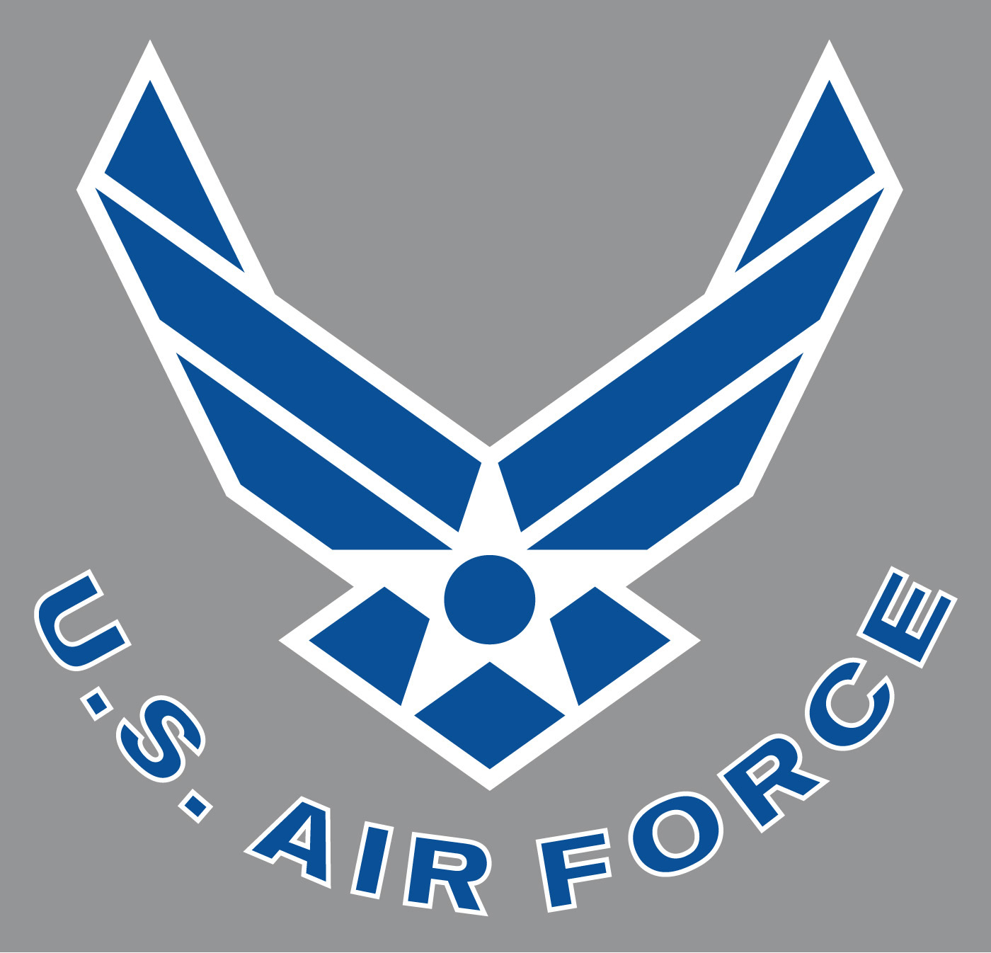 Art air force symbol curved text blue with white outline on gray background the voltagebd Images