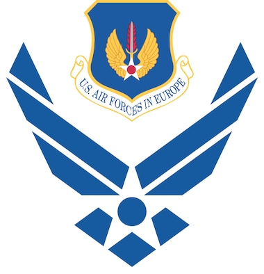 Air Force symbol with cradled U.S. Air Forces in Europe shield (clr), Commercial reproduction of this emblem is NOT permitted without the permission of the proponent organizational/unit commander. Image is 7x7 inches @ 300 ppi.