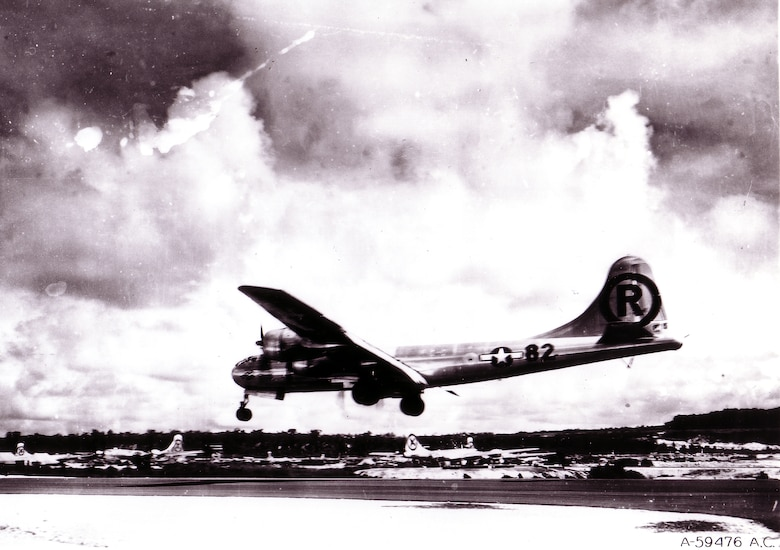 """1940's -- MARIANAS ISLAND -- Boeing B-29 Superfortress """"Enola Gay"""" landing after the atomic bombing mission on Hiroshima, Japan. (U.S. Air Force photo)"""