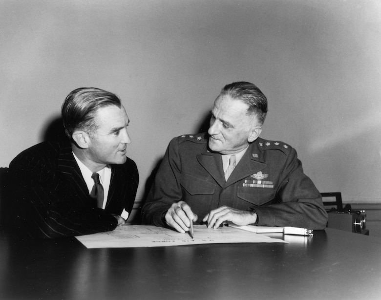 1940's -- W. Stuart Symington, first Secretary of the Air Force and Gen. Carl Spaatz, first Air Force Chief of Staff at a press conference announcing the new organizational set-up for the Department of the Air Force, 1947.  (U.S. Air Force photo)