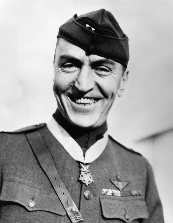 "EARLY YEARS -- Capt. E.V. ""Eddie"" Rickenbacker wearing the Medal of Honor.  (U.S. Air Force photo)"