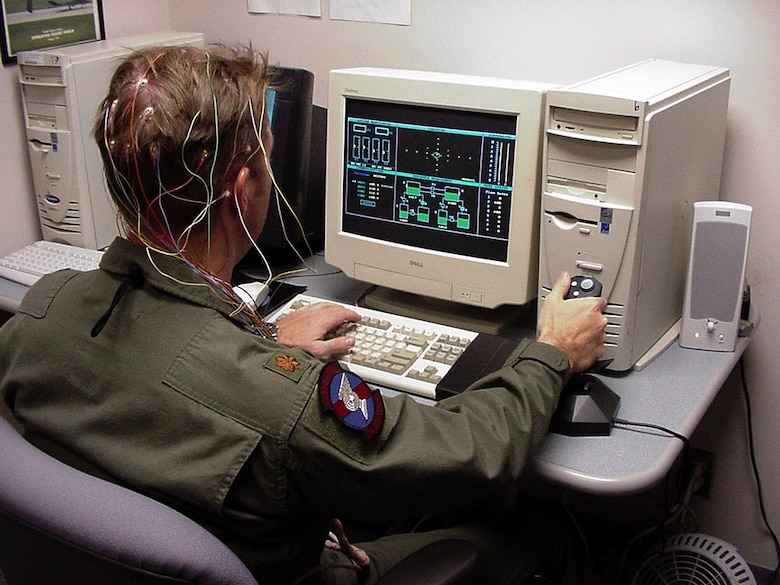 HOLLOMAN AIR FORCE BASE, N.M. -- An F-117A Nighthawk pilot takes a computerized aviation simulation test during a research study into aviator fatigue.  (Courtesy photo)