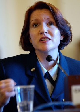 WASHINGTON D.C. -- Chief Master Sgt. Elizabeth S. Schouten of the U.S. Air Force Band talks about her experience with the Transition Assistance Program at a hearing on the state of veterans' employment during a session of the House Committee on Veterans' Affairs on Feb. 5.  (U.S. Air Force photo by Tech. Sgt. Jim Varhegyi)