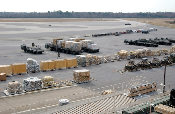 CHARLESTON AIR FORCE BASE, S.C. -- Pallets line the flightline at Charleston Air Force Base, S.C. The workload at the base's 437th Aerial Port Squadron increased an estimated 250 percent after two APS buildings at Dover Air Force Base, Del., collapsed under snow from a blizzard.  (U.S. Air Force photo by Airman 1st Class Jason Bailey)