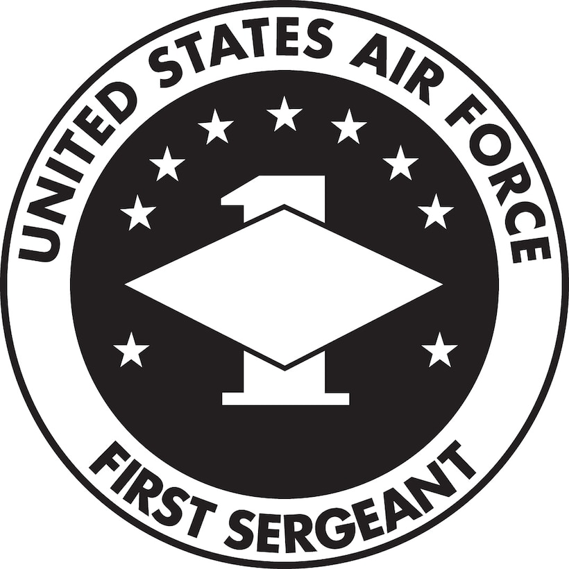 USAF First Sergeant, (B&W color), U.S. Air Force graphic.  In accordance with Chapter 3 of AFI 84-105, commercial reproduction of this emblem is NOT permitted without the permission of the proponent organizational/unit commander.