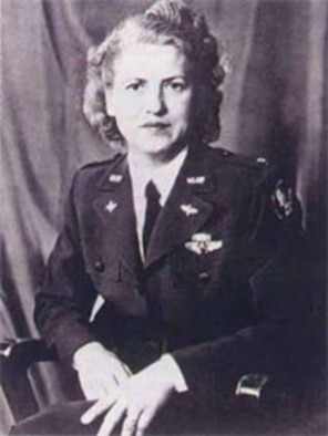 "Jacqueline ""Jackie"" Cochran was a leading aviatrix who promoted an independent Air Force and was the director of women's flying training for the Women's Airforce Service Pilots program during World War II. She held more speed, altitude and distance records than any other male or female pilot in aviation history at the time of her death Aug. 10, 1980."