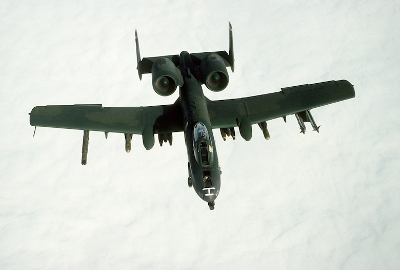 1990's -- An A-10A Thunderbolt II aircraft takes part in a mission during Operation Desert Storm.   The aircraft is armed with AIM-9 Sidewinder missiles, AGM-65 Maverick missiles, and Mark 82 500-pound bombs.