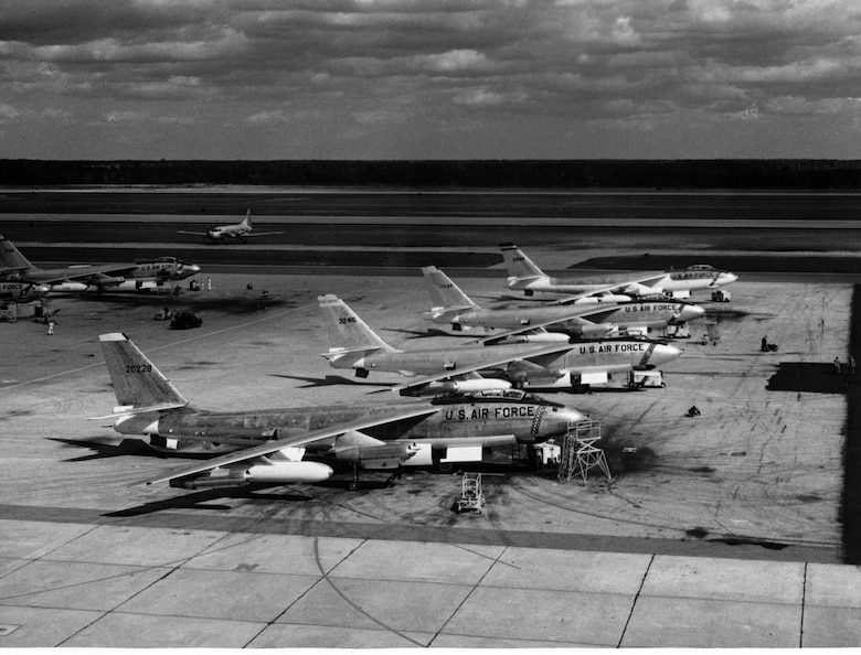 1950's -- The B-47E was an improved version of the -B model and more than 1500 were produced by Boeing, Douglas and Lockheed. Improvements incorporated into the -E model Stratojet included a more powerful version of the General Electric J47 turbojet and Rocket Assisted Take Off (RATO) packs with 18 or 33 rockets which were jettisoned after use. Other features of the B-47E included 20mm cannons in the tail instead of the .50-cal. machine guns of the -B model and upgraded avionics including the A-5 fire control system.