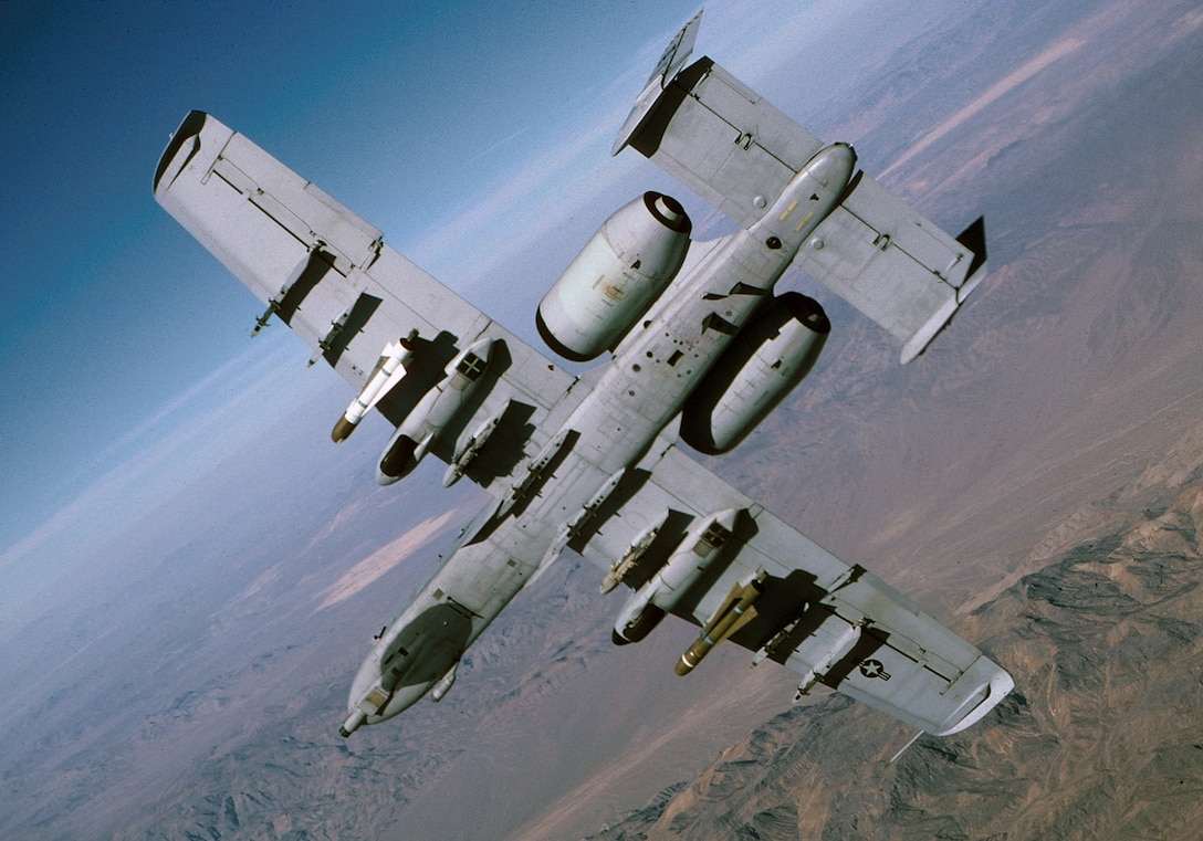 The A-10 and OA-10 Thunderbolt IIs are the first Air Force aircraft specially designed for close air support of ground forces. They are simple, effective and survivable twin-engine jet aircraft that can be used against all ground targets, including tanks and other armored vehicles. The A-10/OA-10 have excellent maneuverability at low air speeds and altitude, and are highly accurate weapons-delivery platforms. They can loiter near battle areas for extended periods of time and operate under 1,000-foot ceilings (303.3 meters) with 1.5-mile (2.4 kilometers) visibility. Their wide combat radius and short takeoff and landing capability permit operations in and out of locations near front lines. Using night vision goggles, A-10/ OA-10 pilots can conduct their missions during darkness. (U.S. Air Force Photo Staff Sgt. Steve Thurow)