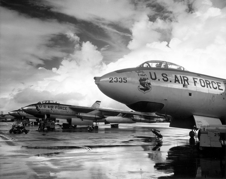 1950's -- Strategic Air Command B-47 Stratojet bombers. The world's first swept-wing bomber. The B-47 normally carried a crew of three--pilot, copilot (who operated the tail turret by remote control), and an observer who also served as navigator, bombardier and radar operator.