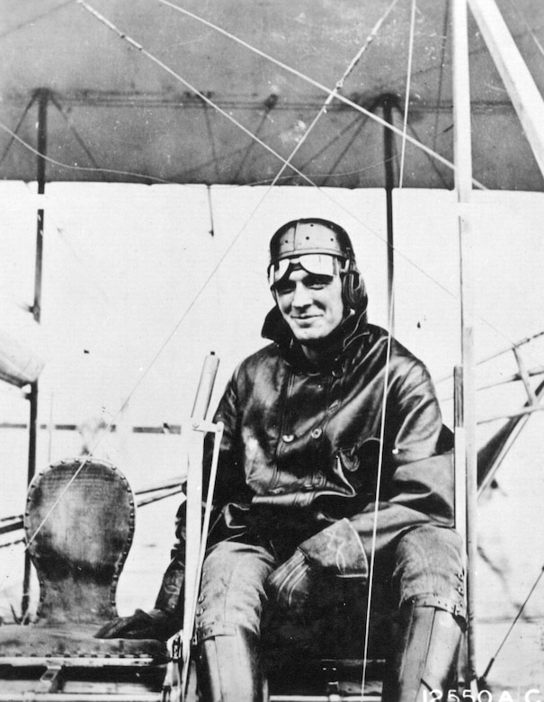 Early Years -- Lieutenant Henry H. Arnold in Wright B Airplane, College Park, Maryland, 1911.