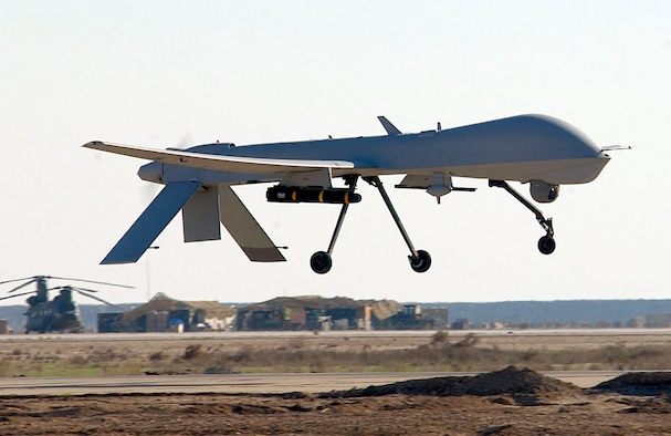 TALLIL AIR BASE, Iraq -- A Predator from the 46th Expeditionary Reconnaissance Squadron here lands Jan. 20.  The Predator is a remotely piloted vehicle that provides real-time surveillance imagery supporting Operation Iraqi Freedom.  (U.S. Air Force Photo by Staff Sgt. Suzanne M. Jenkins)