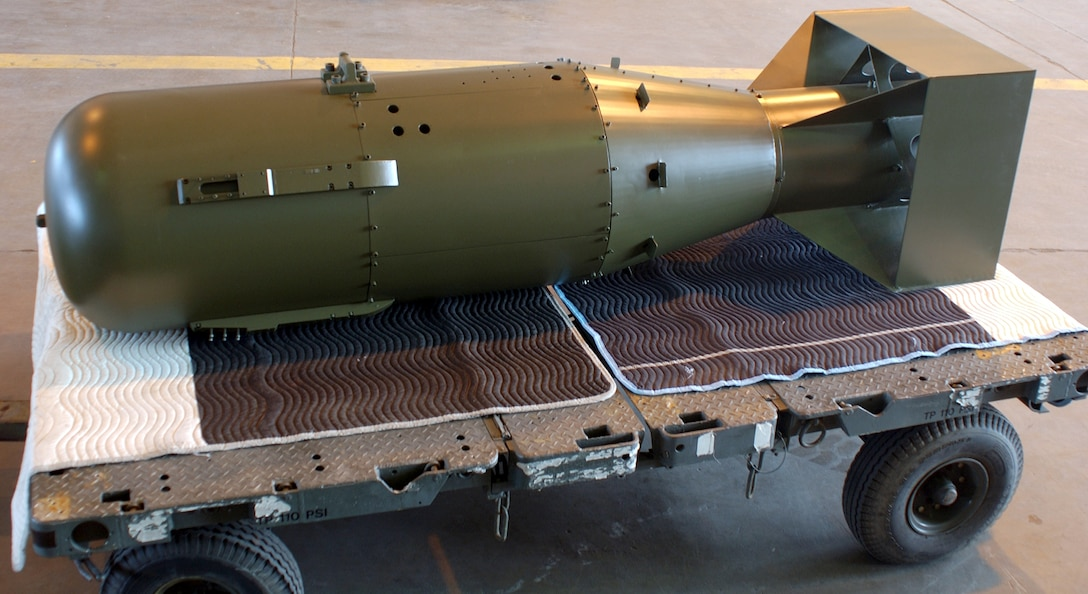 """WRIGHT-PATTERSON AIR FORCE BASE, Ohio --  A """"Little Boy"""" atomic bomb returned to the Air Force Museum here July 15 after a yearlong restoration project.  It is the same type as the one the dropped Aug. 6, 1945, over Hiroshima, Japan.  (U.S. Air Force photo by Jeff Fisher)"""