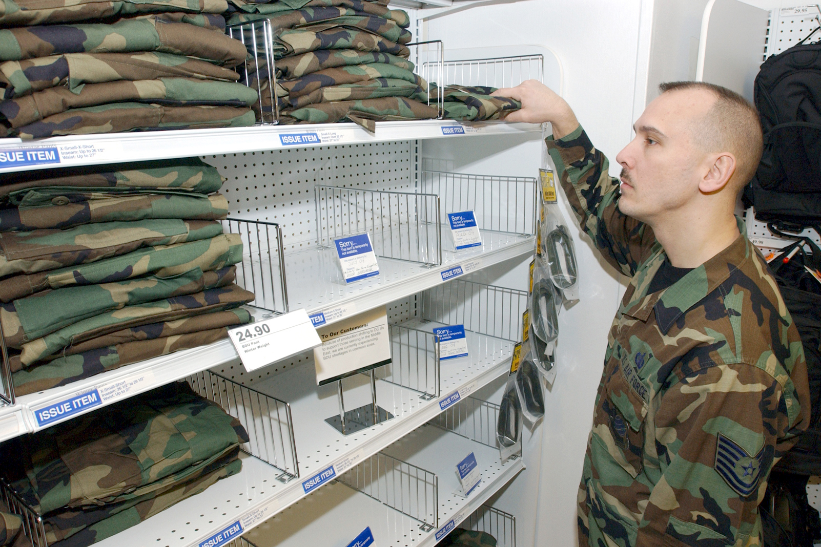 Air force clothing sales store