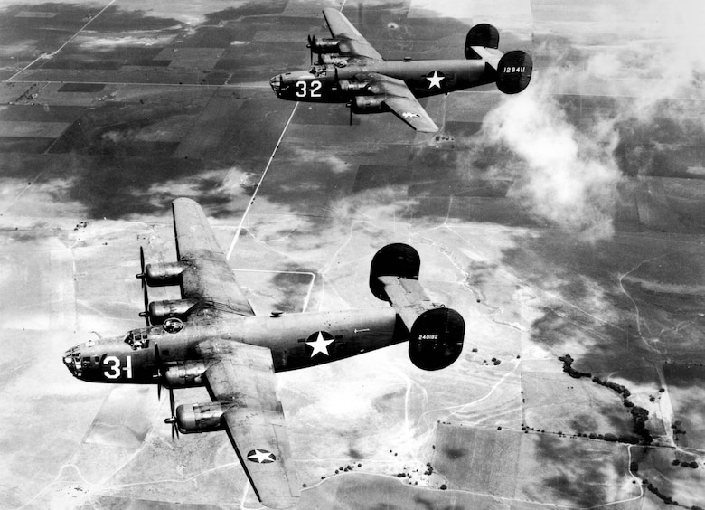 "1940's -- The B-24 ""Liberator"" was suitable for long, over-water missions. (U.S. Air Force photo)"