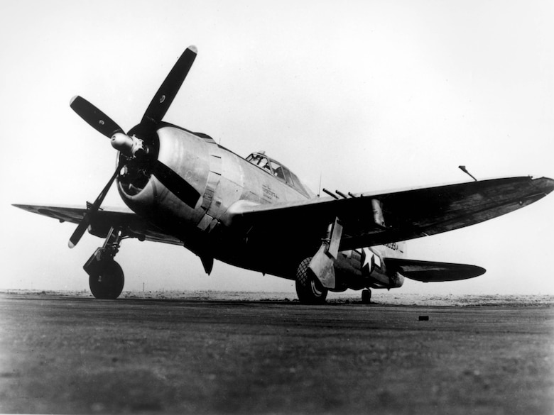 """1940's -- Affectionately nicknamed """"Jug,"""" the P-47 was one of the most famous AAF fighter planes of WW II. Although originally conceived as a lightweight interceptor, the P-47 developed as a heavyweight fighter. (U.S. Air Force photo)"""
