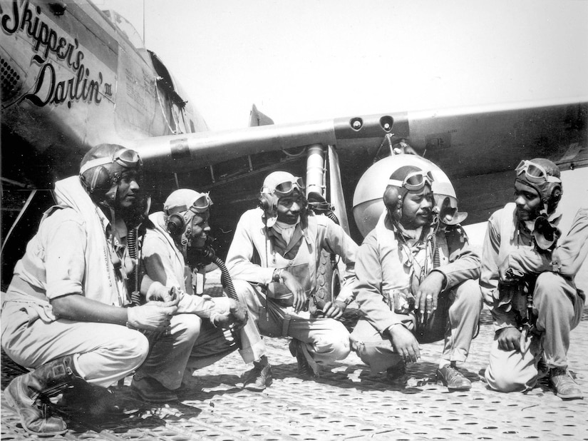 AFRICAN AMERICAN ART PRINT WWII African American Pilots in Italy March 1945