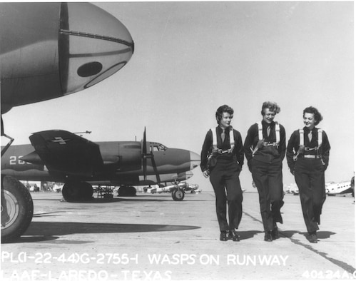 1940's -- WASPs on flight line at Laredo AAF, Texas, 22 January 1944. (U.S. Air Force photo)