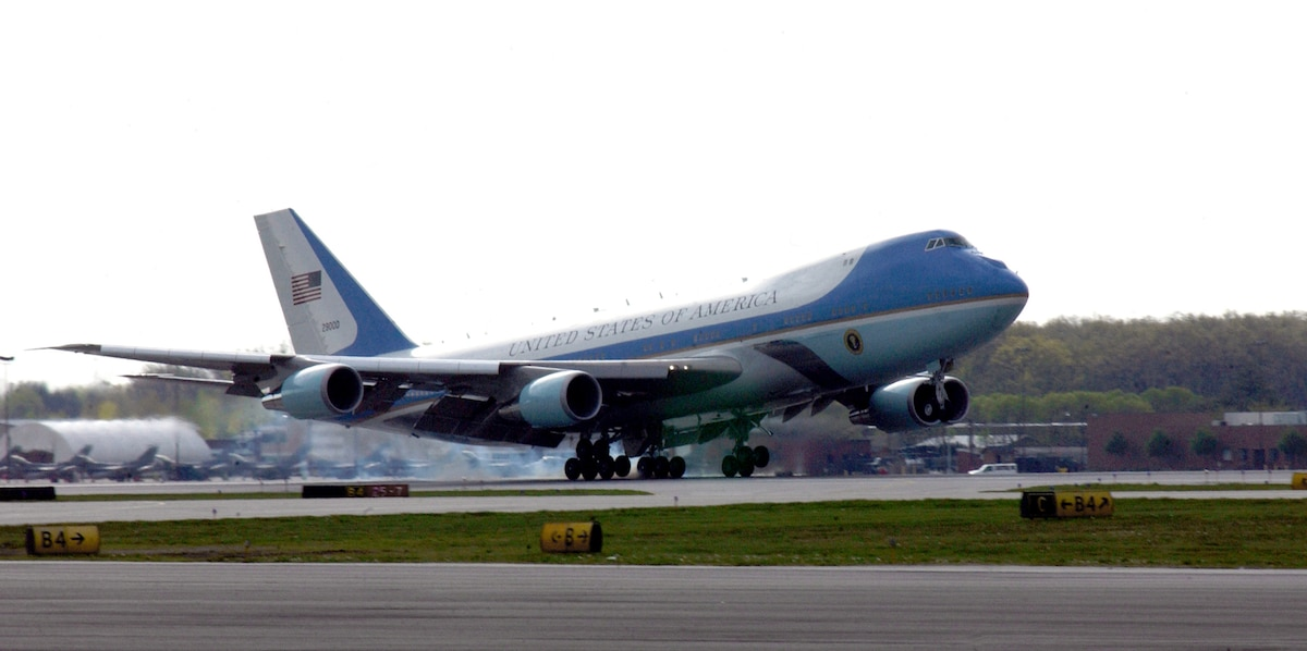 """TOLEDO, Ohio -- Air Force One lands here on May 4. The mission of the VC-25 aircraft -- Air Force One -- is to provide air transport for the president of the United States. The presidential air transport fleet consists of two specially configured Boeing 747-200B's -- tail numbers 28000 and 29000 -- with the Air Force designation VC-25. When the president is aboard either aircraft, or any Air Force aircraft, the radio call sign is """"Air Force One."""" (U.S. Air Force photo by Senior Airman Elizabeth Slater)"""