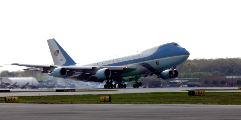 "TOLEDO, Ohio -- Air Force One lands here on May 4. The mission of the VC-25 aircraft -- Air Force One -- is to provide air transport for the president of the United States. The presidential air transport fleet consists of two specially configured Boeing 747-200B's -- tail numbers 28000 and 29000 -- with the Air Force designation VC-25. When the president is aboard either aircraft, or any Air Force aircraft, the radio call sign is ""Air Force One."" (U.S. Air Force photo by Senior Airman Elizabeth Slater)"