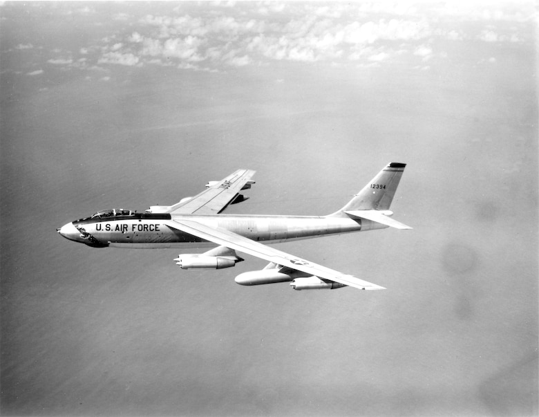 1950's -- An overall view  of a Boeing B-47 Stratojet aircraft in flight.