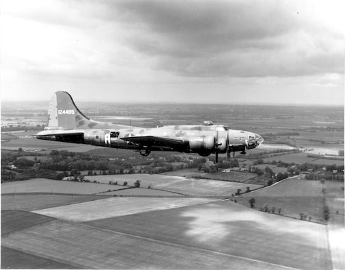 "1940's -- The B-17 Flying Fortress ""The Memphis Belle"" is shown on her way back to the United States June 9, 1943, after successfully completing 25 missions from an airbase in England."