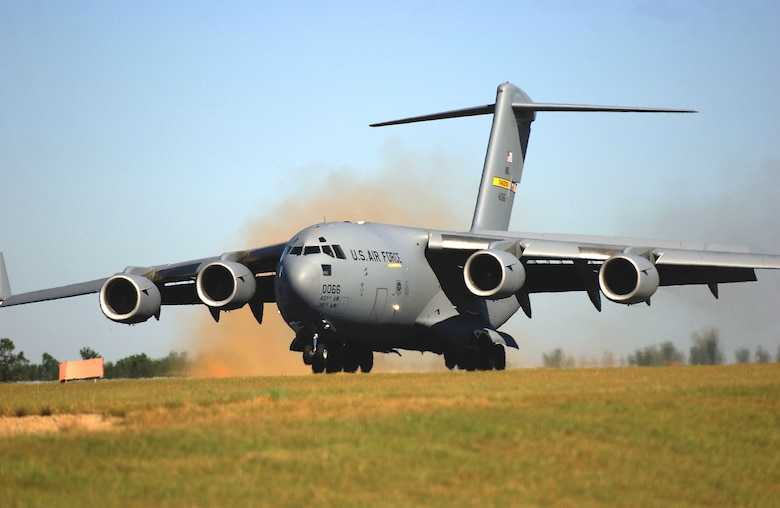 NORTHFIELD AIR BASE, S.C. - A C-17 Globemaster III from the 437th Airlift Wing at Charleston Air Force Base, S.C., performs a combat landing during an incentive flight here recently.  (U.S. Air Force photo by Staff Sgt. Matthew Hannen)