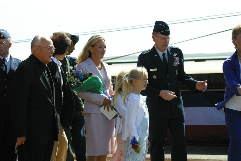 SUNNY POINT, N.C. -- Gen. John W. Handy greets the family of Tech. Sgt. John Chapman at the naming of a Military Sealift Command vessel in Chapman's honor. General Handy is Air Mobility Command and Transportation Command commander. (U.S. Air Force photo by Lisa Terry McKeown)