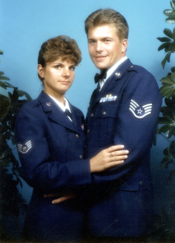HICKAM AIR FORCE BASE, Hawaii -- Then Staff Sgts. Roger and Lisa Sirois were on their way to making the Air Force a career.  Now, the two share the rank of chief master sergeant.  They married after high school in 1980 and then joined the Air Force together.  (U.S. Air Force photo)