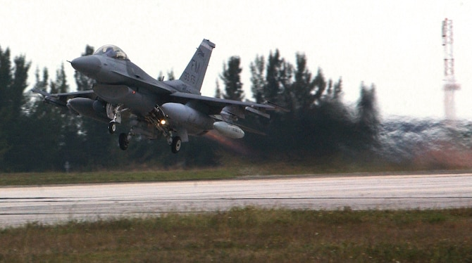HOMESTEAD AIR RESERVE BASE, Fla. -- An F-16 Fighting Falcon takes off from here for a dissimilar aircraft combat training mission against F-15 Eagles.  The F-16s are assigned to Homestead's 93rd Fighter Squadron, and the F-15s are from the 58th FS at Eglin Air Force Base, Fla.  (U.S. Air Force photo by Lisa Macias)