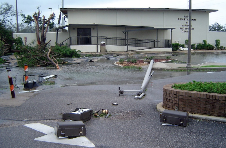 KEESLER AIR FORCE BASE, Miss. -- Facilities here received extensive damage following a direct hit on the base by Hurricane Katrina.  Officials are assessing the damage and are in contact with the Federal Emergency Management Agency.  (U.S. Air Force photo)