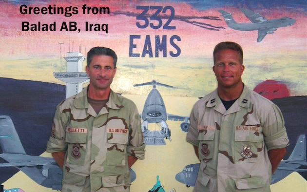 Chief Master Sgt. Robert Belletti and Maj. Roger Law pose for a picture postcard-type photo in Balad AB, Iraq. Both Reservists earned the Bronze Star for their service in Iraq.(U.S. Air Force photo)