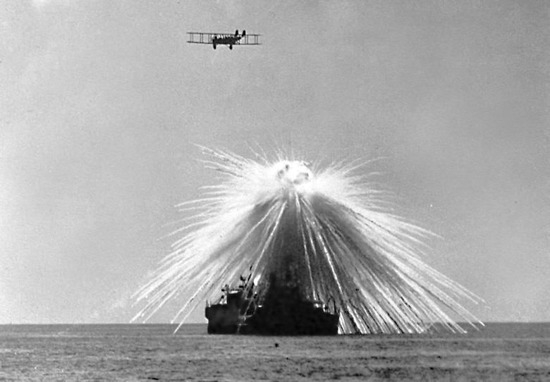 An MB-2 hits its target, the obsolete battleship USS Alabama during tests. On Sep. 27, 1921, still operating with Mitchell's provisional air brigade, the group's MB-2 aircraft bombed and sank the ex-U.S. Navy battleship Alabama (BB-08) in Tangier Bay, Chesapeake Bay, Md.