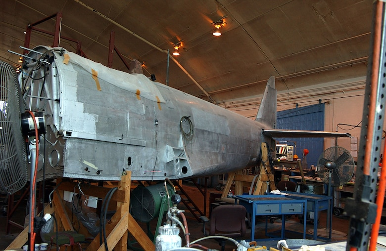 DAYTON, Ohio (07/2005) -- The Kawanishi N1K2-Ja (or George), a World War II Japanese air defense fighter, undergoes restoration at the National Museum of the United States Air Force. (U.S. Air Force photo)