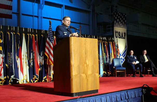 DAYTON, Ohio -- Air Force Chief of Staff Gen. John P. Jumper addresses the audience during the museum's Redesignation Ceremony in October 2004. (U.S. Air Force photo)