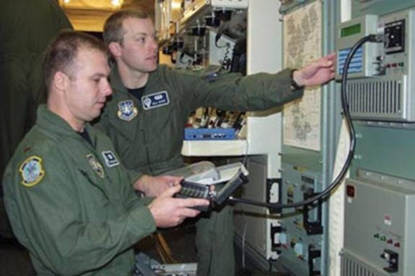 Second Lt. Stephen Grinage and 1st Lt. Bill Dyer, members of the 742nd Missile Squadron, Minot AFB, N.D., perform Very Low Frequency key loading for the Minimum Essential Emergency Communication Network at one of the base's missile alert facilities. (Air Force photo by Staff Sgt. Carla Williams)