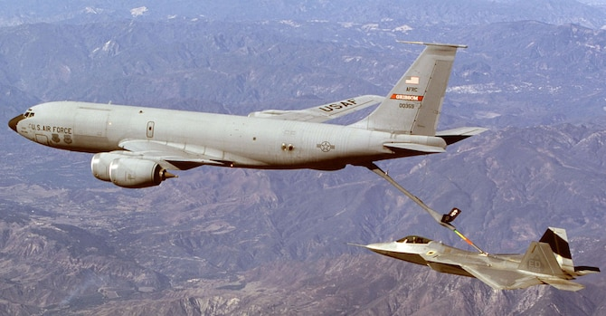 A KC-135R Stratotanker from the 434th Air Refueling Wing, Grissom Air Reserve Base, Air Force Reserve Command, Indiana