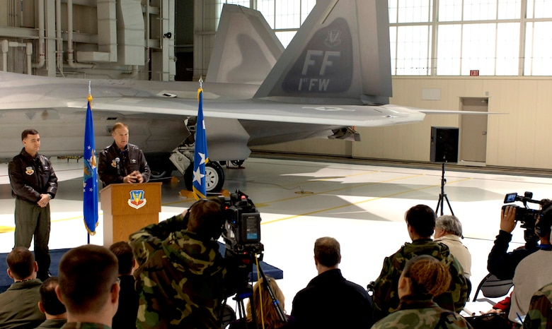 LANGLEY AIR FORCE BASE, Va. (AFPN) -- Gen. Ronald Keys and Brig. Gen. Burton Fields answer questions during a press conference to announce the F-22A Raptor's initial operating capability today. General Keys is the commander of Air Combat Command. General Fields is the commander of the 1st Fighter Wing. (U.S. Air Force photo by Staff Sgt. Quinton T. Burris)
