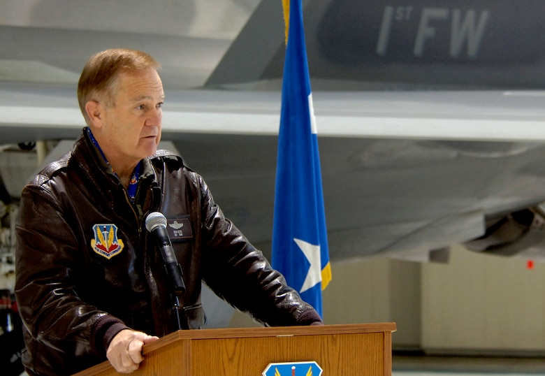 LANGLEY AIR FORCE BASE, Va. (AFPN) -- Gen. Ronald Keys answers questions during a press conference to announce the F-22A Raptor's initial operating capability today. General Keys is the commander of Air Combat Command. (U.S. Air Force photo by Staff Sgt. Quinton T. Burris)