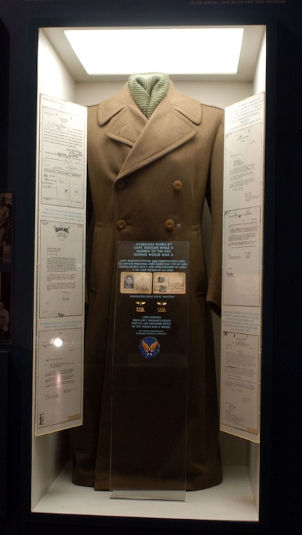DAYTON, Ohio -- Ronald Reagan's overcoat is on display with the Celebrities in Uniform exhibit in the World War II Gallery at the National Museum of the United States Air Force. (U.S. Air Force photo)