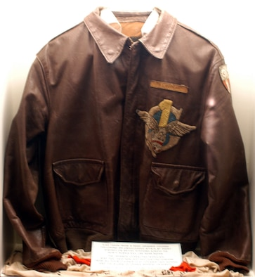 DAYTON, Ohio -- Flight Officer Jackie Coogan's  jacket is on display with the Celebrities in Uniform exhibit in the World War II Gallery at the National Museum of the United States Air Force. (U.S. Air Force photo)