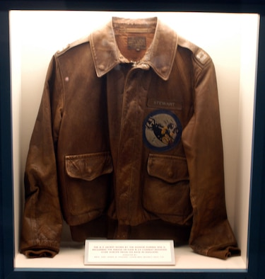 DAYTON, Ohio -- Brig. Gen. James Stewart's jacket in on display with the Celebrities in Uniform exhibit in the World War II Gallery at the National Museum of the United States Air Force. (U.S. Air Force photo)