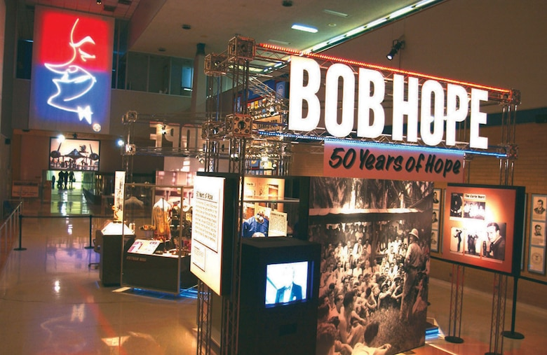 DAYTON, Ohio -- An exhibit honoring comedian Bob Hope is on display in Kettering Hall at the National Museum of the United States Air Force. (U.S. Air Force photo)