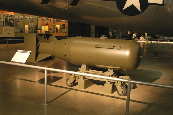 """DAYTON, Ohio -- """"Little Boy"""" atomic bomb at the National Museum of the United States Air Force. (U.S. Air Force photo)"""