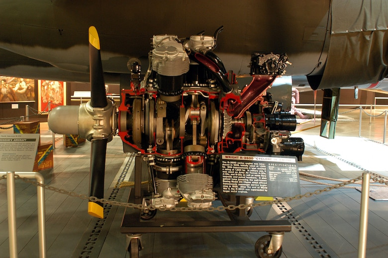 DAYTON, Ohio -- Wright R-2600 engine displayed in the World War II Gallery at the National Museum of the United States Air Force. (U.S. Air Force photo)