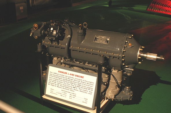 DAYTON, Ohio -- Ranger L-440 engine on display in the Early Years Gallery at the National Museum of the United States Air Force. (U.S. Air Force photo)