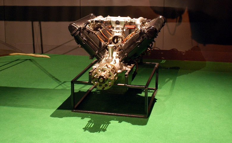 DAYTON, Ohio -- Hispano-Suiza 8BE engine on display in the Early Years Gallery at the National Museum of the United States Air Force. (U.S. Air Force photo)