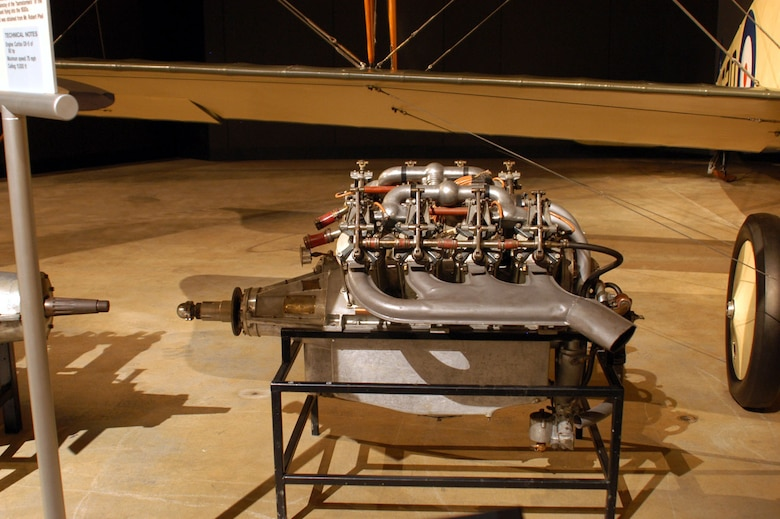 DAYTON, Ohio -- Curtiss OX-5 engine on display in the Early Years Gallery at the National Museum of the United States Air Force. (U.S. Air Force photo)