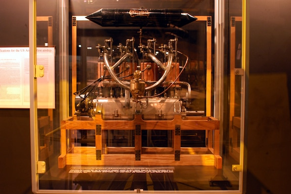 DAYTON, Ohio -- Curtiss four-cylinder engine on display in the Early Years Gallery at the National Museum of the United States Air Force. (U.S. Air Force photo)